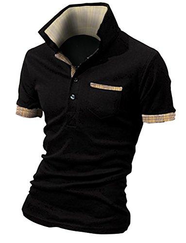 BUZZ WEAR [バズ ウェア] メンズ ポロシャツ poloシャツ 半袖 チェック スキッパー スポーツ ゴルフ ゴルフウェア 春 夏 ブラック L