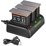 Neewer Battery Charger Set Compatible with DJI OSMO Action Camera (3-Pack 1300mAh AB1 Battery, 3-Channel Charger with Micro USB and Type-C Input), Fully Compatible with Original