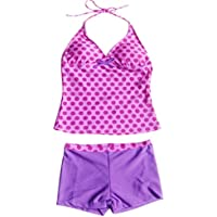 iiniim Big Girls' Polka Dots 2 Piece Halter Tankini Swimwear Summer Clothes