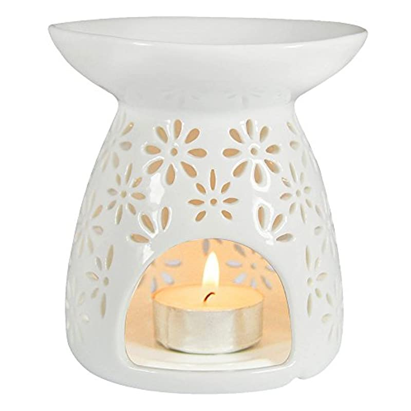 やりがいのある怒っている猫背(White) - ToiM Vase Shaped Milk White Ceramic Hollowing Floral Aroma Lamp Candle Warmers Fragrance Warmer Oil...