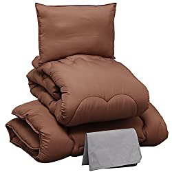 布団セット 4点セット 洗える ほこりの出にくい布団 きめ細やかなピーチスキン加工 軽量 低ホルムアルデヒド仕様 収納ケース付 シングル ブラウン