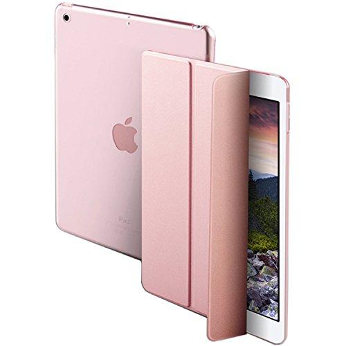 PIXEL/ピクセル iPad mini4(A1538/A1550)専用 スマートカバー ケース 三つ折り保護カバー クリアケース 自立スタンド・オートスリープ機能 軽量・極薄タイプ (iPad mini4, ローズゴールド)