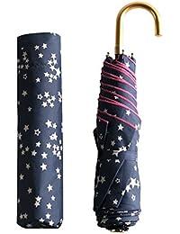 Natu&samu ナツとサム 折りたたみ傘 レディース グレー 手開き 可愛い UVカット加工 6本骨 90cm 軽量 小さい 晴雨兼用 日傘 星柄 ベージュ アルミ 安全 曲がり ネイビー