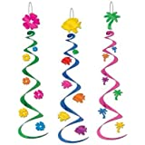 6 Luau Party Whirls/Luau Hanging Decorations and Supplies/Beach Pary Decorations/Fish and Palm Tree Decorations [並行輸入品]