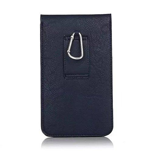 汎用 携帯 スマホ ホルスター 6.3インチ 以下対応 ガラケー ケース ベルト 合皮 PU 革 大容量ポーチ カラビナフック付 カード収納 札収納機能 (ブルー)