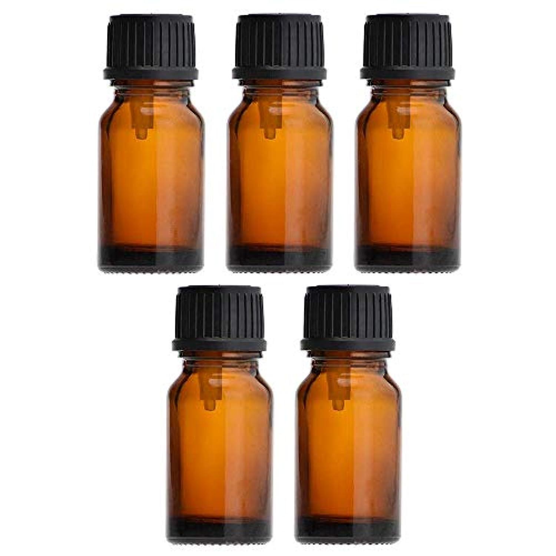 アロマオイル 精油 遮光瓶 セット ガラス製 エッセンシャルオイル 保存用 保存容器詰め替え 茶色 10ml 5本セット
