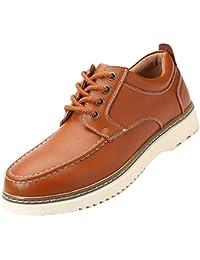 [NEARDREAM] デッキシューズ ワークシューズ メンズ 厚底 本革 茶色 革靴 カジュアルシューズ レースアップ ウオーキング ビジネス用 通勤 通学 軽量 通気い 24.5cm-28.0cm
