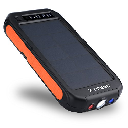 X-DNENG モバイルバッテリー 改良版 12000mAh大容量 ソーラーチャージャー 2USB出力ポート 防水/防塵/耐衝撃 ソーラー充電器 LEDライト付き iPhone7 iPad Android などに対応 地震/災害時/ 旅行/出張に (オレンジ)