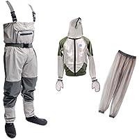 monkeyjack軽量ラバー釣りWader通気性Chest Wader For Fly Fishing + anti-mosquito BeeバグClothing Suitシンフード付きアウトドアワイルド釣り布XXL