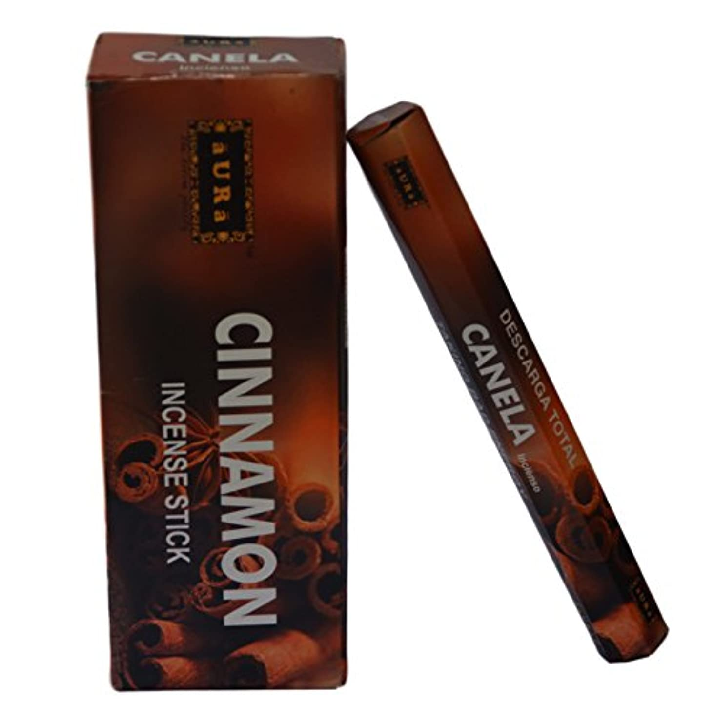 邪魔する領収書胚芽オーラCinnamon Scented Incense Sticks、プレミアム天然Incense Sticks、六角packing- 120 Sticks