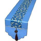 サテンテーブルランナーブルー、ダイニングテーブル用刺繍テーブルランナー、テレビ用キャビネット、コーヒーテーブル、靴箱、ポーチ(6サイズあり) (色 : 青, サイズ さいず : 34cm×300cm)