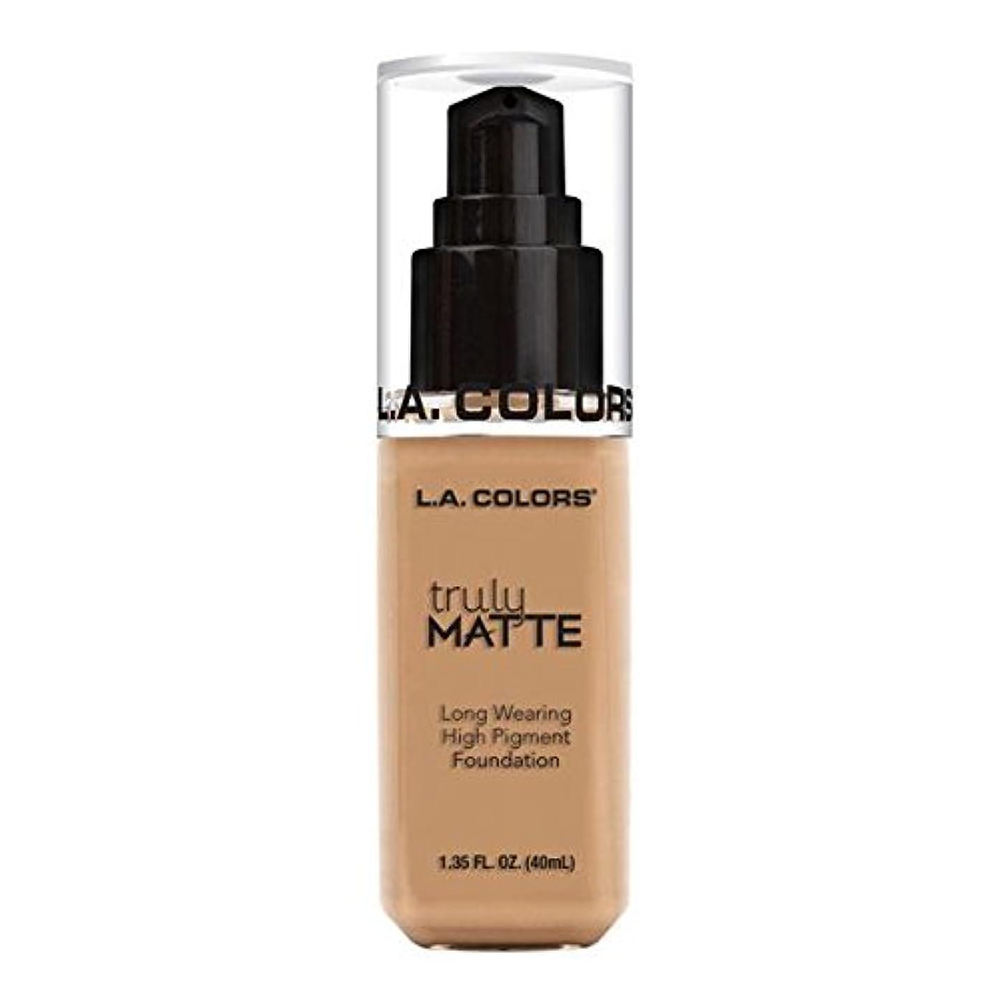 パトロン匹敵しますおっと(3 Pack) L.A. COLORS Truly Matte Foundation - Soft Beige (並行輸入品)
