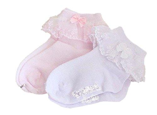 お出かけ 靴下 レース フリル リボン 2足 セット 女の子 フォーマル 入学式 (17-19㎝) …