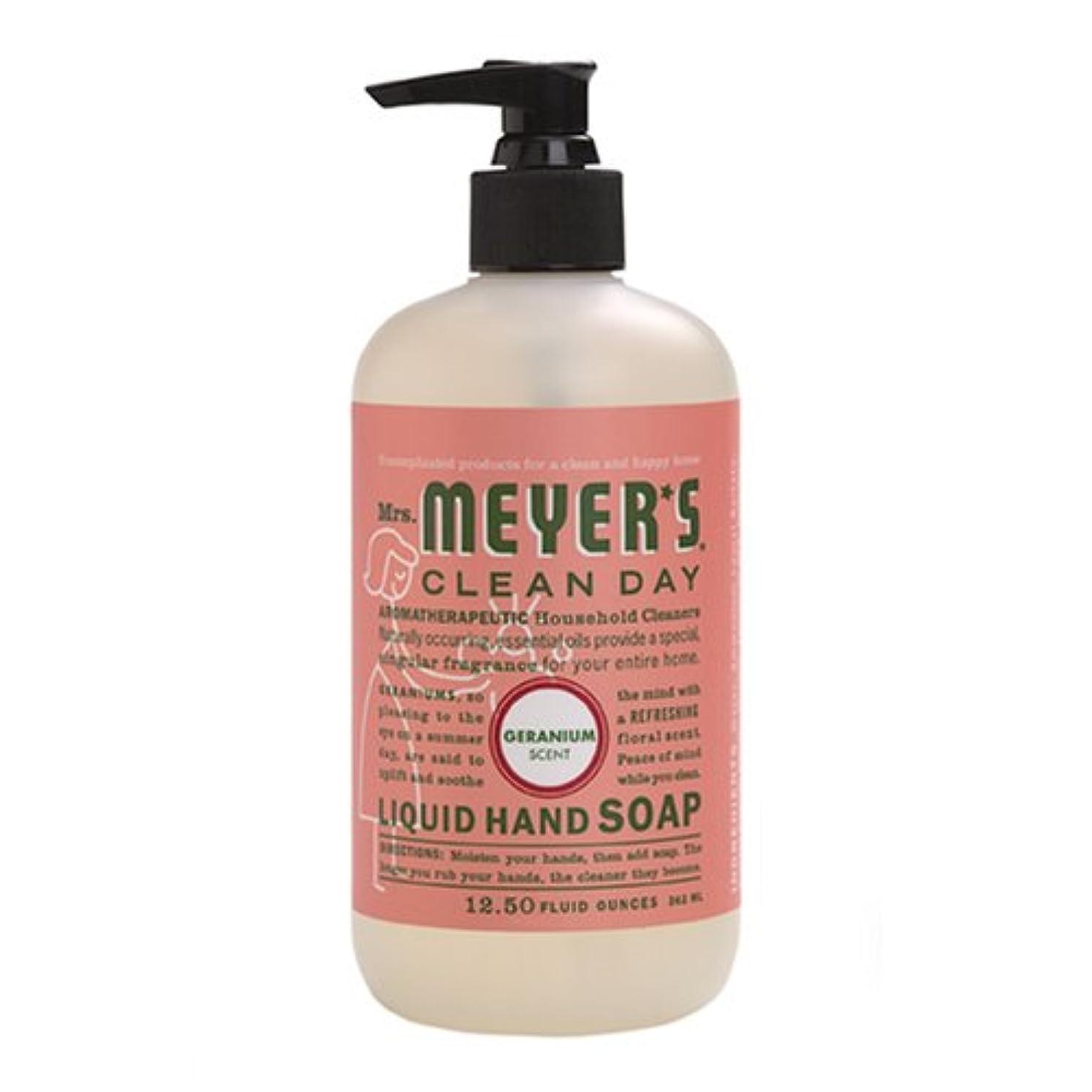 有能な愛する船尾Mrs. Meyers Clean Day, Liquid Hand Soap, Geranium Scent, 12.5 fl oz (370 ml)
