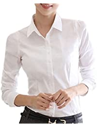 Homarina 長袖 シャツ ブラウス 白 ワイシャツ 襟付き レディース 通勤 通学 就活