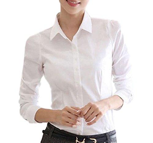 Homarina 長袖 シャツ ブラウス 白 ワイシャツ 襟付き レディース 通勤 通学 就活 (M, ホワイト)