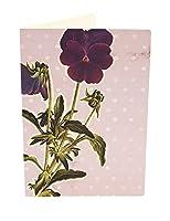 Susi冬カード折り畳みカードで空白の内側、Pansyヴィンテージ紙パッド、パープル/グリーン