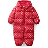 [inotenka]ジャンプスーツ ベビー服 ダウン カバーオール 防寒着 幼児 ロンパース フード 裏起毛 042-xzxll-1(80 レッド)