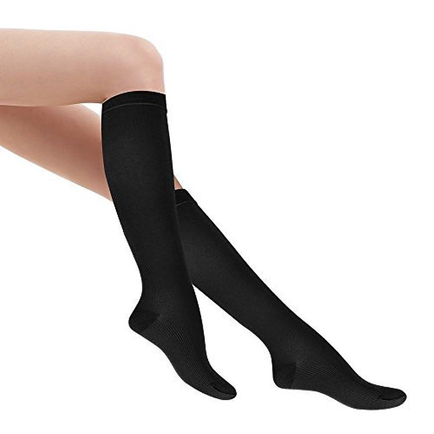 肥満普遍的な誰がFytto 着圧ソックス レディース 着圧 ハイソックス 段階着圧設計20~27hPa ビジネス ソックス 靴下 足のむくみ 解消 女性カジュアルタイプ(M, ブラック)