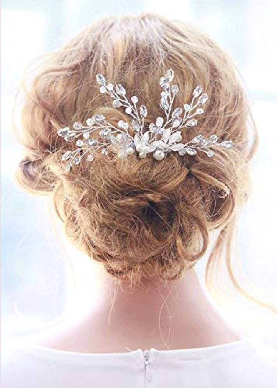 Missgrace Bridal Crystal Rhinestones Hair Comb Bridal Headpiece Bridal Hair Comb Crystal Headpiece Large Decorative...