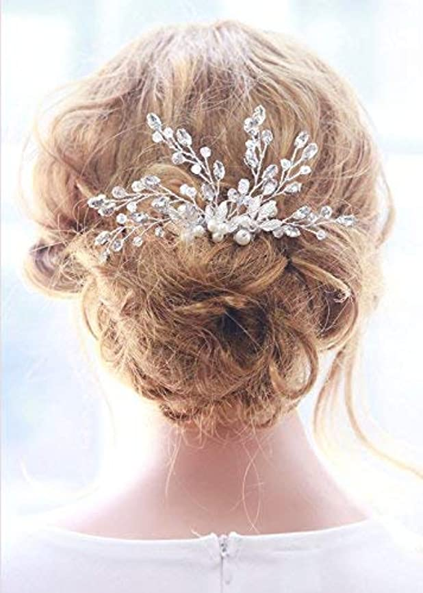 口ひげ自明水星Missgrace Bridal Crystal Rhinestones Hair Comb Bridal Headpiece Bridal Hair Comb Crystal Headpiece Large Decorative...