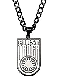 メンズステンレス鋼ブラックPVD Star Wars Episode 7 First Order犬タグペンダントチェーン22