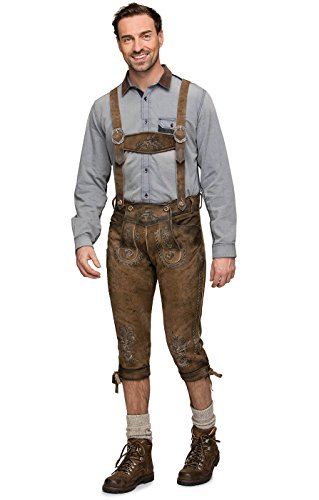 Stockerpointのチロリアン民族衣装 メンズのH形のストラップ付きのレザーパンツSTEFAN レーダーホーゼン、ブラウン、サイズ46 [並行輸入品]