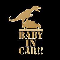 怪獣が乗ってる!? Baby in car カッティング ステッカー ゴールド 金