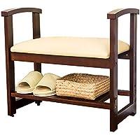 室内ソリッドウッド靴ラック、リビングルームベッドルームエントランス変更靴ベンチ家庭用ソファスツール収納スツール (サイズ さいず : 61 * 32 * 55CM)