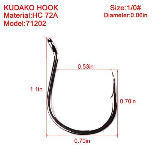Proberos Single Fishing Hooks Strong High-Carbon KUDAKO Series Jig Hooks 100pcs Fishing Hook Saltwater Bass 71202-1#-6/0#