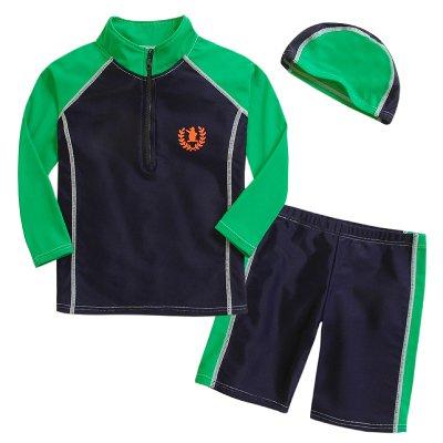 男児用水着3点セット (スイムキャップ・長袖ラッシュガード・パンツ水着) UPF50+素材使用 (110~120cm,グリーン系)