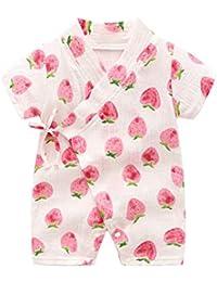 ce105edf9738d DWSIOOW ロンパース 浴衣 甚平 子供用 ベビー肌着 カバーオール 半袖 夏 前開き 男の子 女の子 かわいい