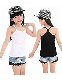 [インソミラ] InSomila 子供服 2着セット キャミソール タンクトップ キッズ 女の子 ダンス ヒップホップ スポーツ インナー 小学校 重ね着 キャミソール 黒 白