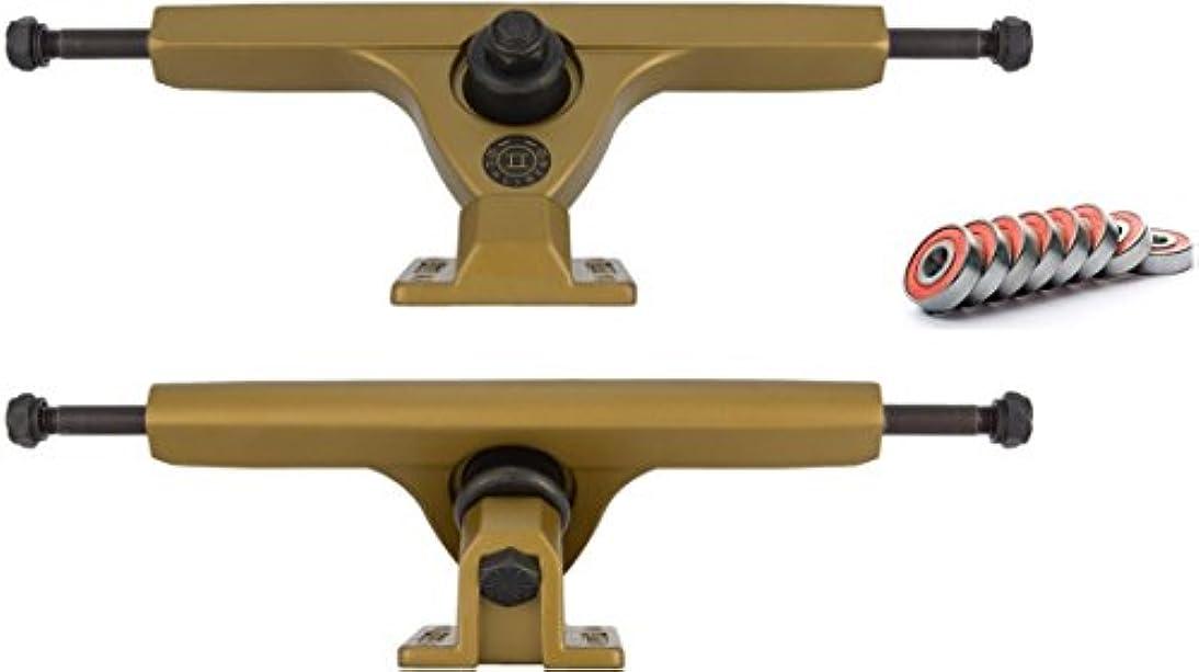 算術ゆり精査Calibre II Satin Gold Longboard Trucks 50 Degree WITH BEARINGS