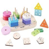 木製教育Preschool形状色認識パズルおもちゃ誕生日ギフトおもちゃAge 1 2 3歳の赤ちゃん用幼児用Boy Girl