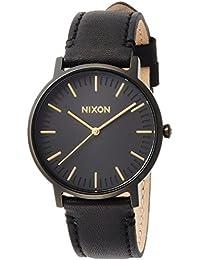 [ニクソン]NIXON 腕時計 PORTER LEATHER: ALL BLACK/GOLD NA10581031-00 【正規輸入品】