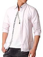 (スペイド) SPADE シャツ メンズ 七分袖 Yシャツ ライン テープ カジュアル 【e133】