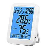湿度計 温湿度計デジタル 室内室外温度計 読みやすい タッチキー使いやすい バックライト付き 目覚まし時計アラーム カレンダー機能 最高最低温湿度表示 インストール簡単(バッテリーない)