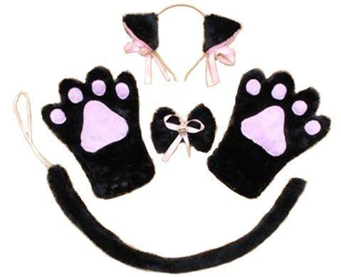 萌え 萌え にゃんこ 4点セット (猫耳 肉球 手袋 首輪) コスチューム用小物 黒