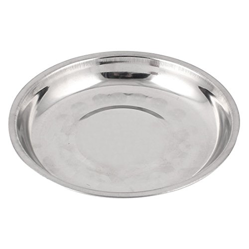 uxcell 食事プレート 食品皿 ホルダー トレー コンテンナー 丸い ステンレス製
