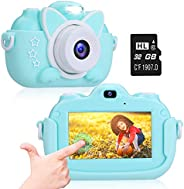 Kids Camera, A-TION Camera for Kids with 3.0 inch IPS Touchscreen, Rechargeable Selfie Camera for Children, La