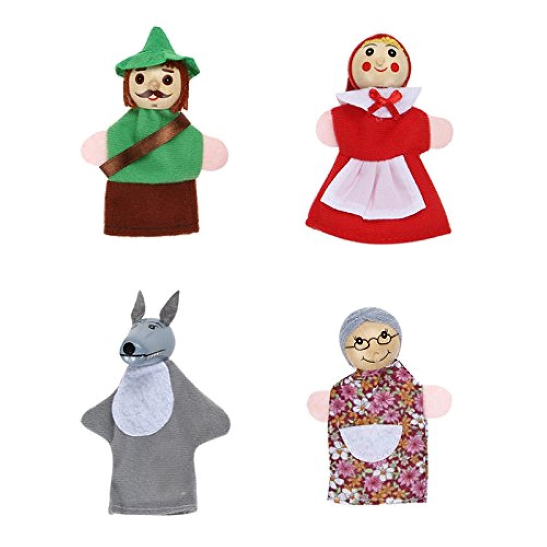Greensun TM 4pcs /ロット子供おもちゃFinger Puppets人形ぬいぐるみおもちゃLittleレッドRiding Hood木製Headed Fairy TaleストーリーTelling Hand Puppets
