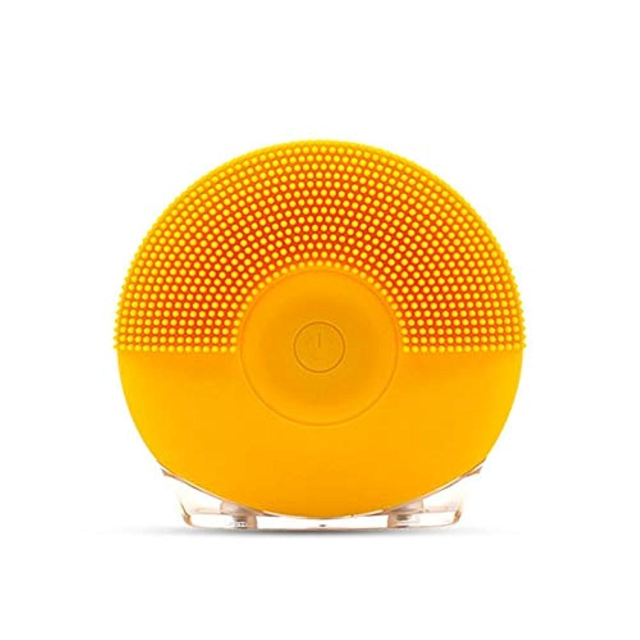 ねじれ黒板歌手ソニックバイブレーションフェイシャルクレンジングブラシ、シリコンUsbフェイシャルクレンジングブラシ (Color : Yellow)