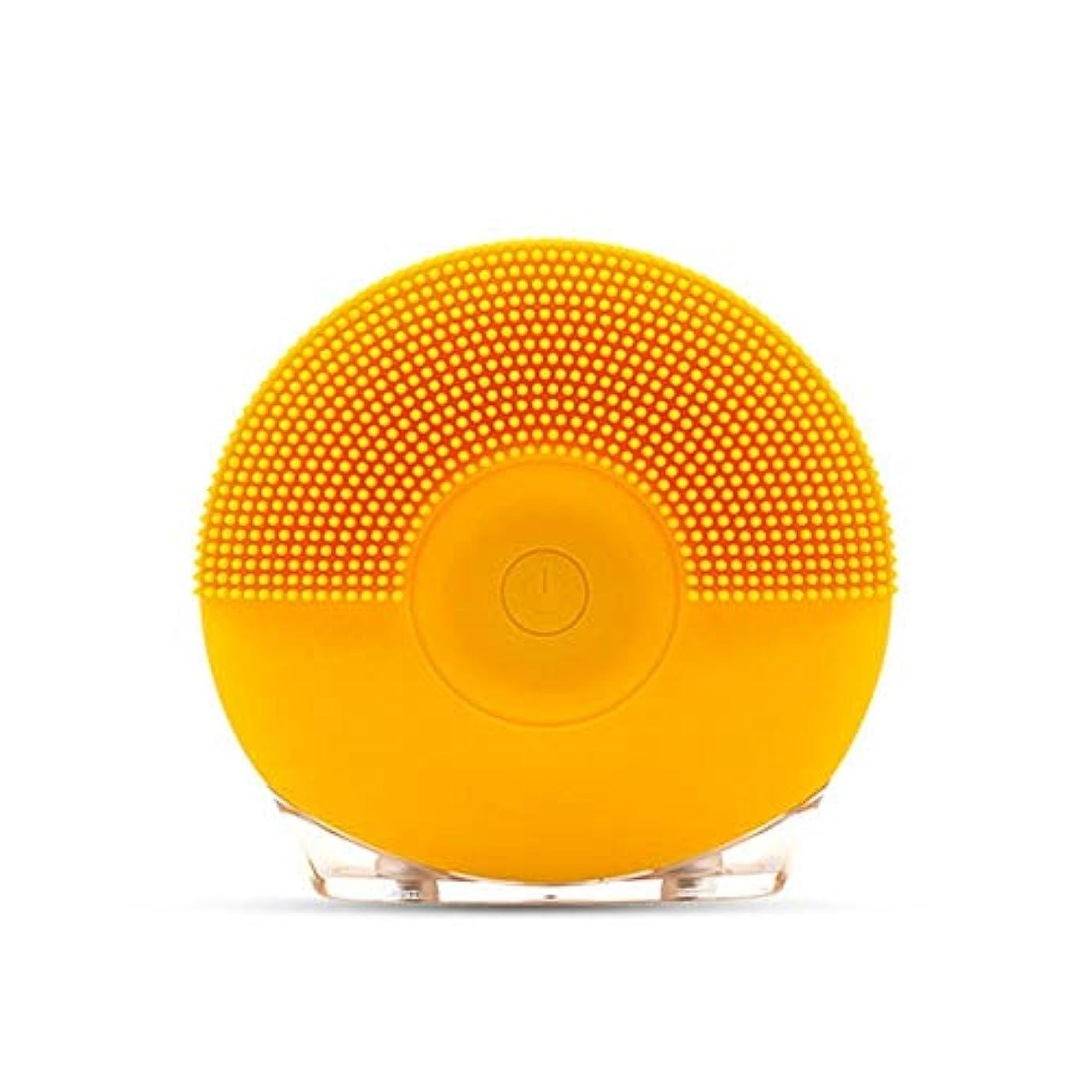 南極色よく話されるソニックバイブレーションフェイシャルクレンジングブラシ、シリコンUsbフェイシャルクレンジングブラシ (Color : Yellow)