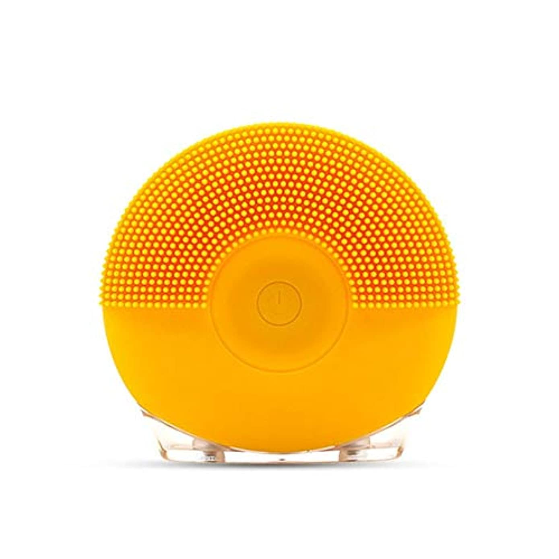 宙返り勇気業界ソニックバイブレーションフェイシャルクレンジングブラシ、シリコンUsbフェイシャルクレンジングブラシ (Color : Yellow)