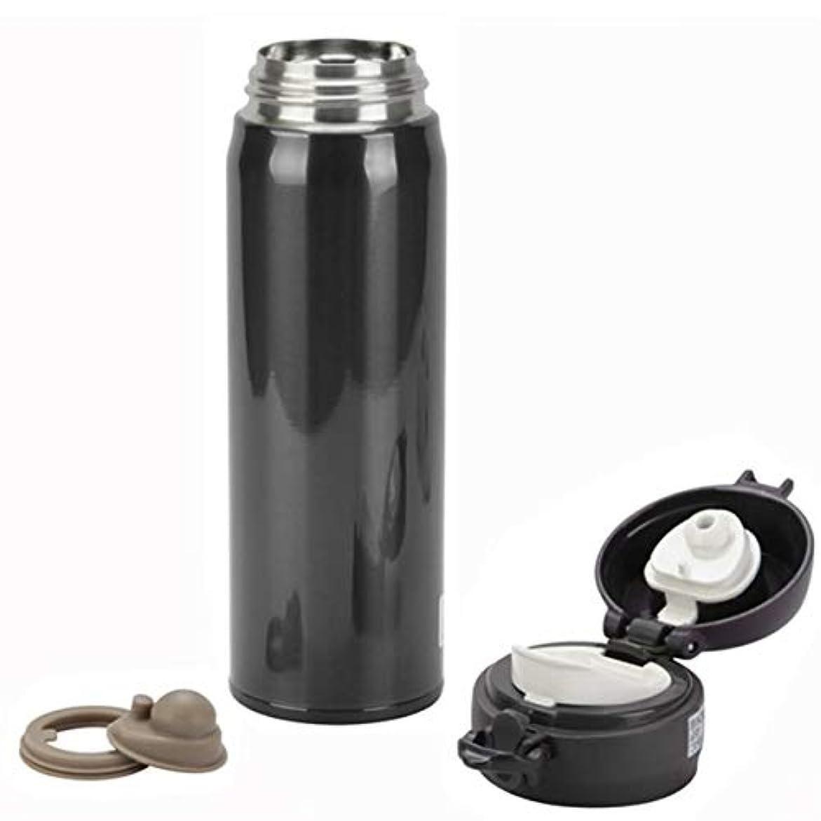 系譜小包素子Saikogoods 真空カップ 450ミリリットル ステンレス鋼 ウォーターボトル 飲料ボトル 断熱カップ ポットを保つ運動をする ソリッドカラー シンプルなデザイン 黒