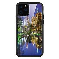 iPhone 11 Pro Max 用 強化ガラスケース クリア 薄型 耐衝撃 黒 カバーケース シティ ノースカロライナ・マーシャル・パーク湖の写真を映したアメリカの夜の反射 マルチカラー iPhone 11 Pro 2019用 iPhone11ケース用