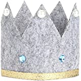 アニメ 布製 子供用 クラウンキャップ 誕生日 お祝い ベビーシャワー 帽子 可愛い パーティー用品 写真小道具 (グレー)