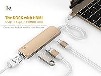 InnowattでコンボハブUSB 3.1タイプC HDMI &充電ポート(充電for MacBook 12inch) ゴールド