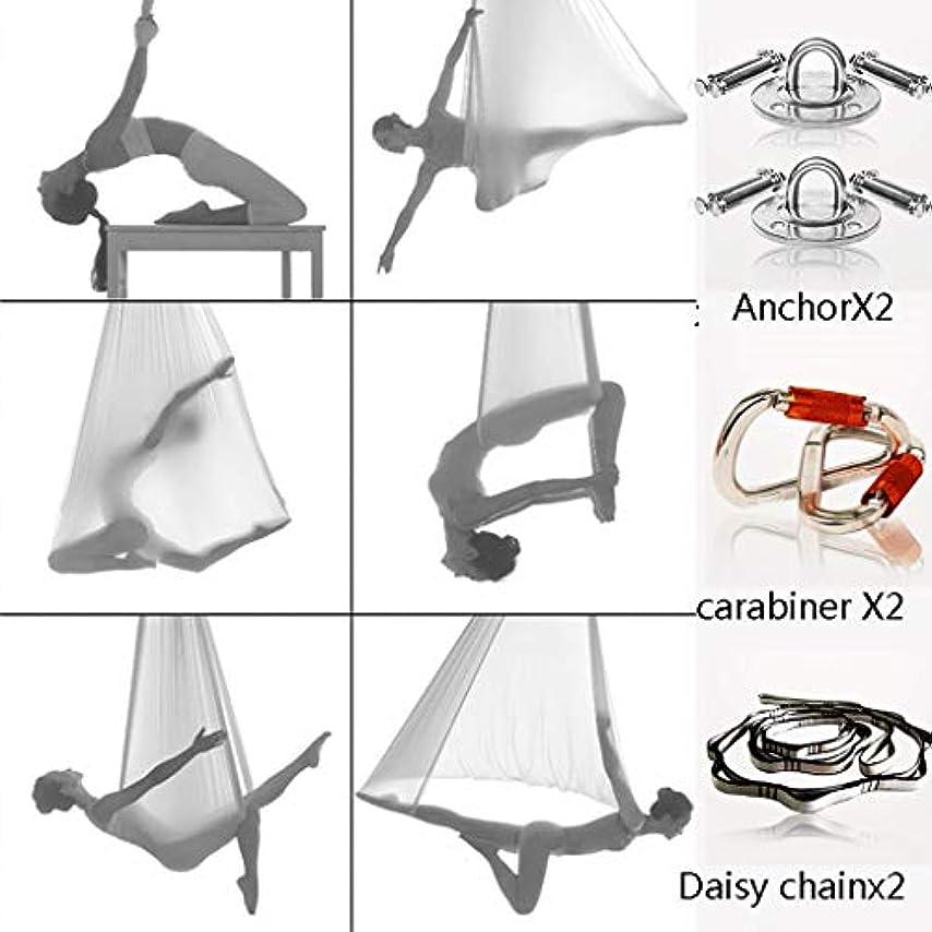 象大砲粘土空中反重力ヨガハンモック5.5ヤード、空中ピラティス100%ナイロン生地ヨガスイングセットカラビナ、デイジーチェーン、反転ツール、エアヨガ用反転練習 (色 : 白)